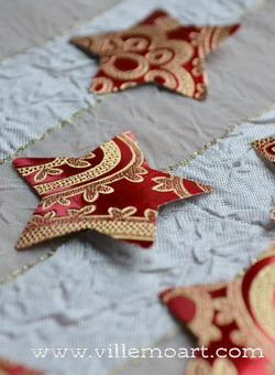 Gwiazdki - 6 szt - scrapbooking - Red Ornament